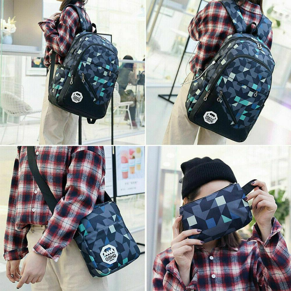Men USB Port Backpack Laptop Travel School