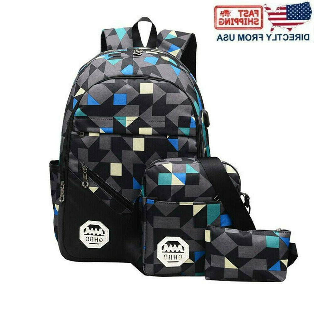 men women usb port backpack laptop travel