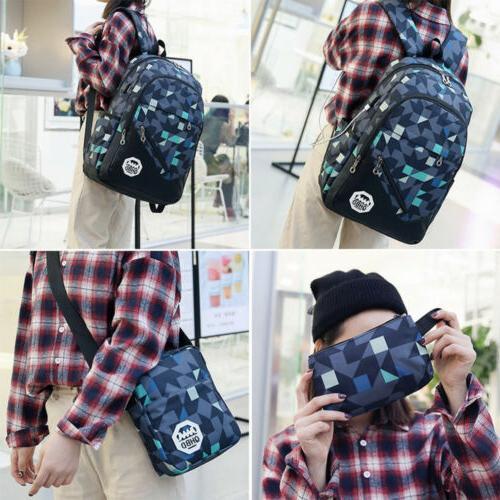 Men USB Backpack Shoulder School