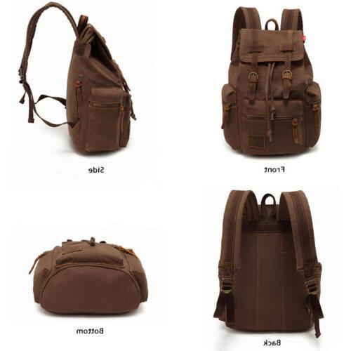 Men Women Retro Canvas School Bookbag Backpack