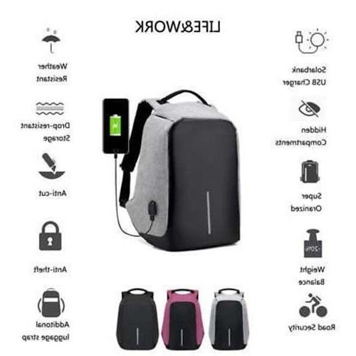 Mens Theft Laptop Rucksack Bag USB Charge Port