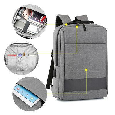 Anti-theft Men Laptop Notebook Backpack+USB Earphone Port Bu