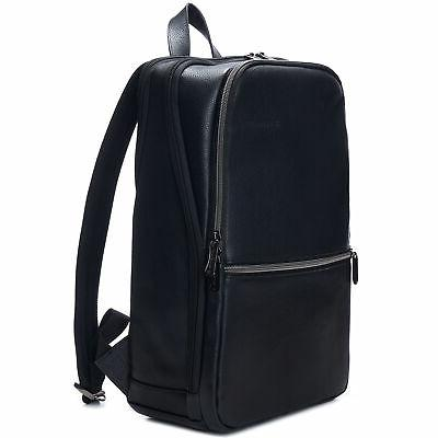 mens leather laptop backpack travel daypack computer