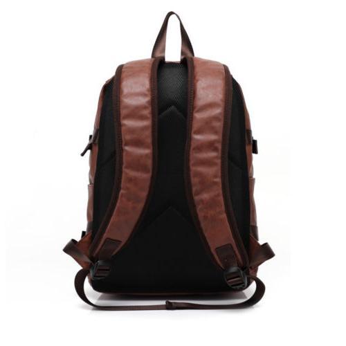 Mens Travel Backpack Satchel Leather Laptop Camping Rucksack