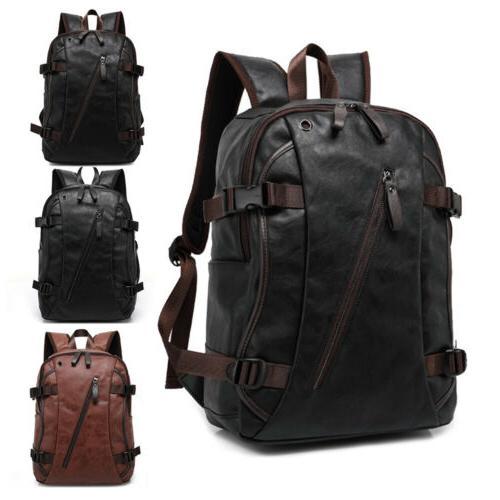 mens travel backpack school satchel leather laptop