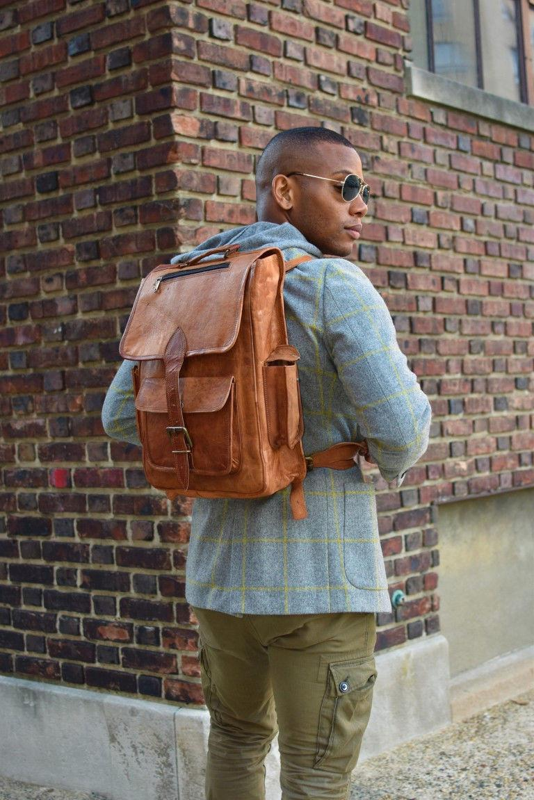 Mens Genuine Leather Laptop Backpack Bag