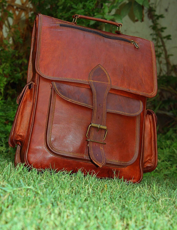 Mens Vintage Genuine Laptop Backpack Messenger Bag