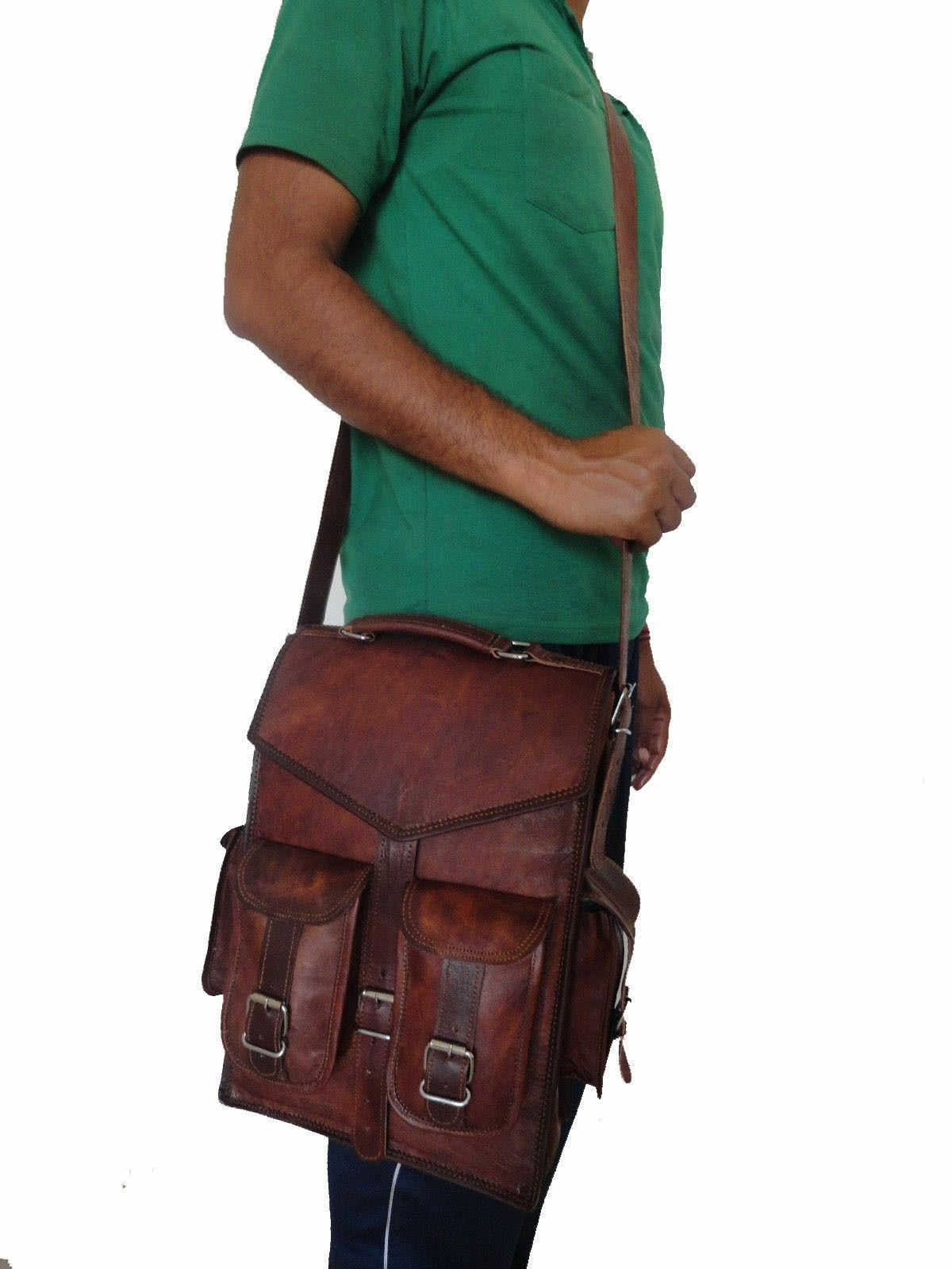 Men Leather Laptop Backpack Shoulder Sling Bag