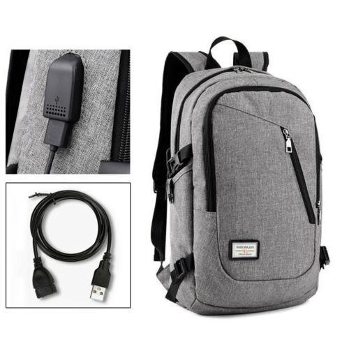Mens Womens Backpack USB Notebook School Book Bag