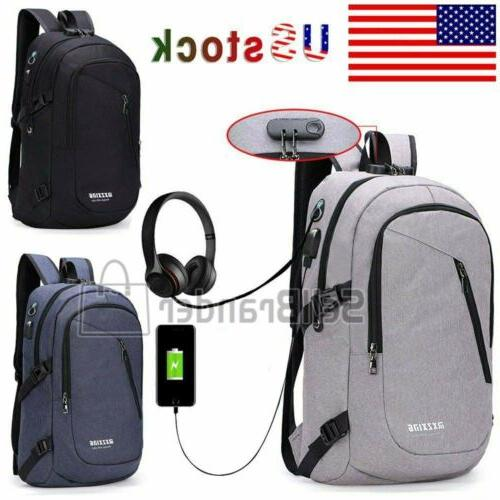 Mens Womens Digit Anti-theft Lock USB Charging Backpack Lapt