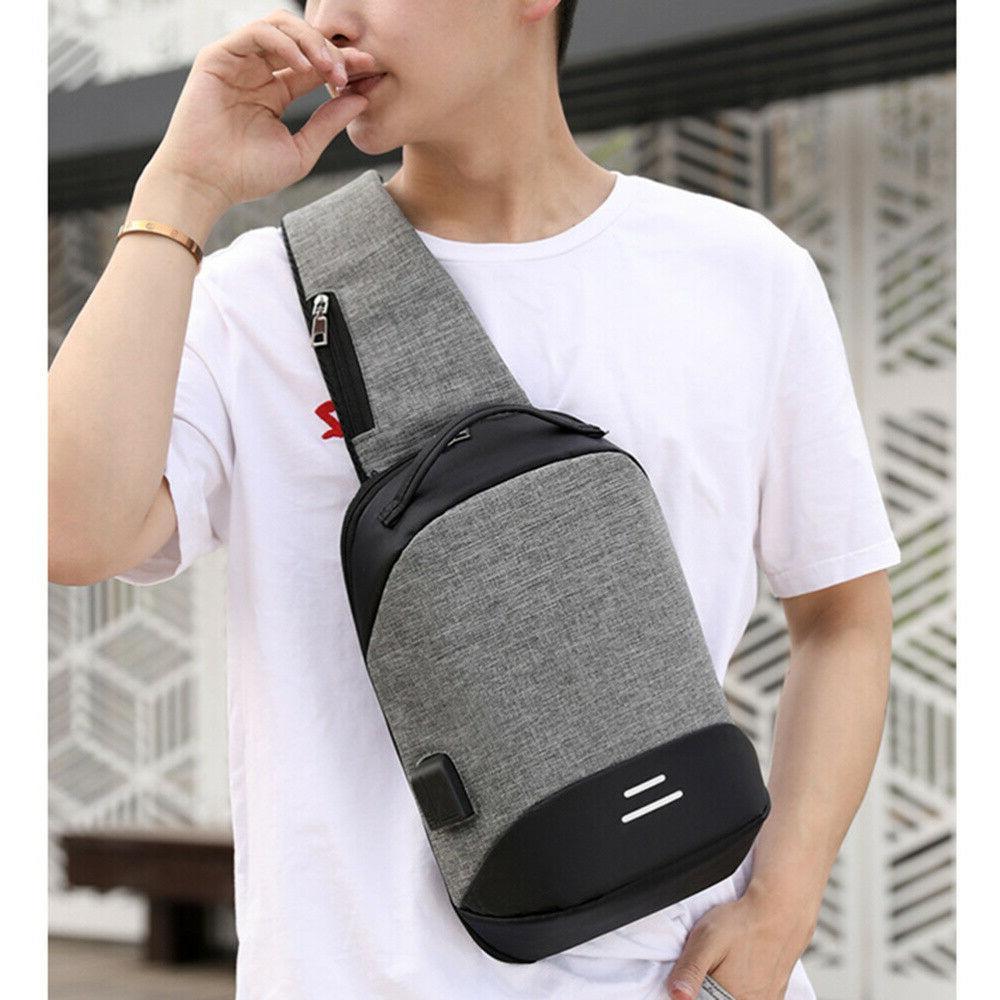 Mens USB Anti-Theft Travel Bag