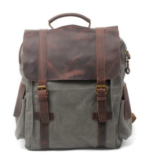Military Canvas Leather School Travel