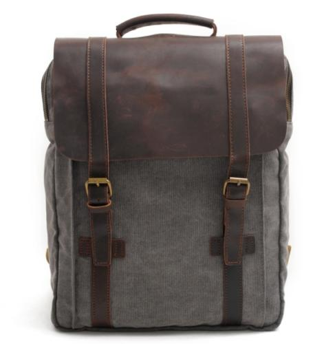 Military Leather Satchel School Travel Bag