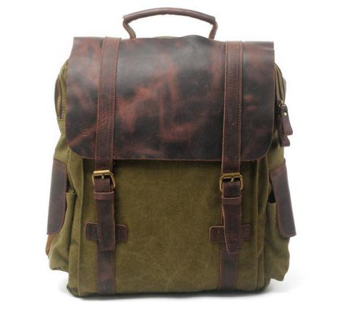 """Military Canvas School 15"""" Laptop Travel Backpack Bag"""