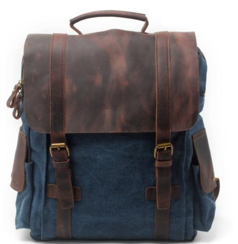 Military Leather Travel Backpack Bag