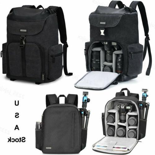 new black canvas camera bag backpack