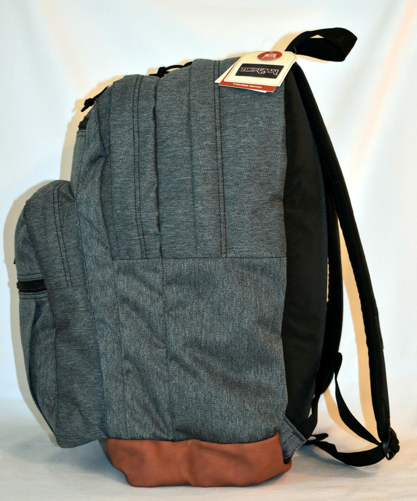 New Student Laptop Backpack White Herringbone