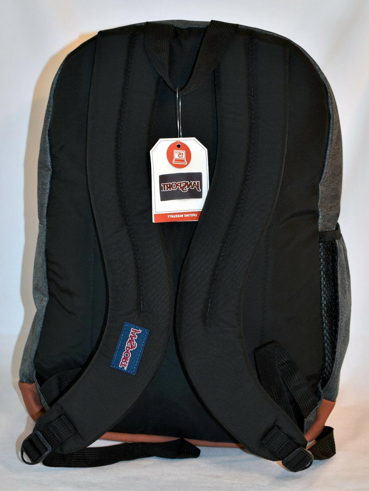 Laptop Backpack -- White Herringbone