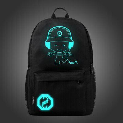Night Backpack Laptop School Bags With USB