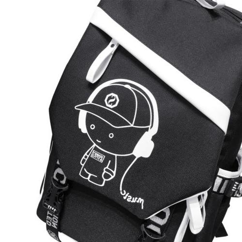 Night Luminous Backpack Laptop Bag Shoulder Bags With USB