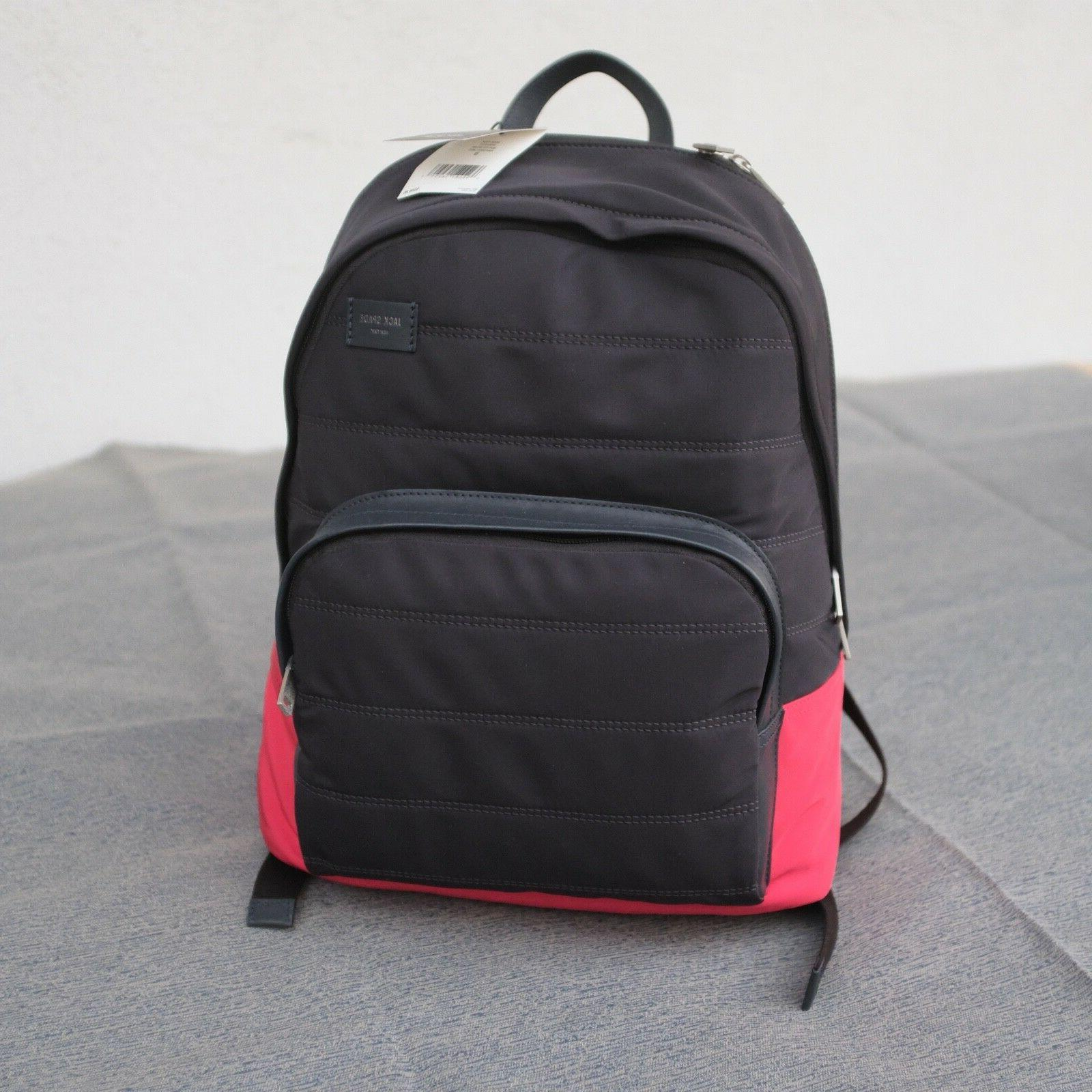quilted nylon leather backpack book pack padded