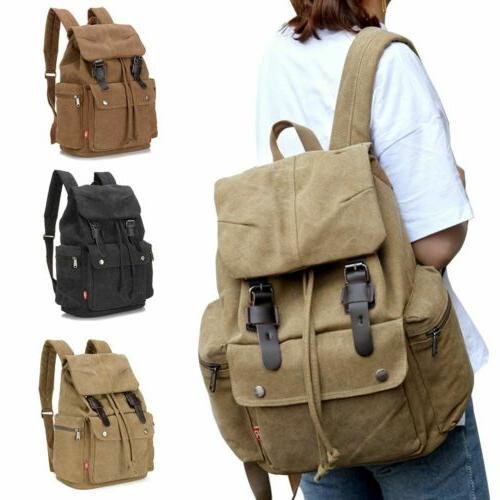 retro canvas backpack travel hiking sports school
