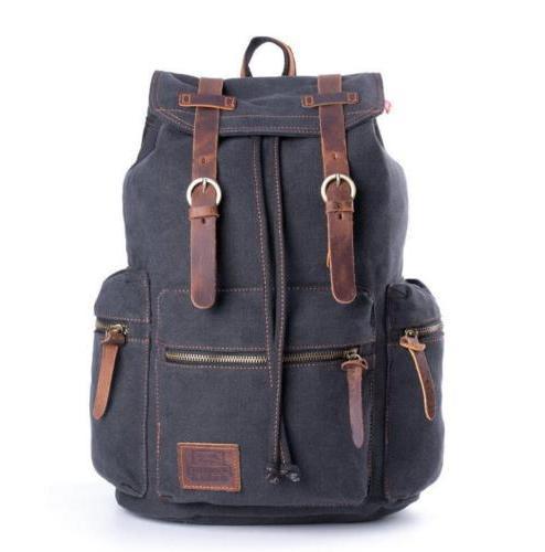 Retro Men School Casual Shoulder Bag Laptop Rucksack