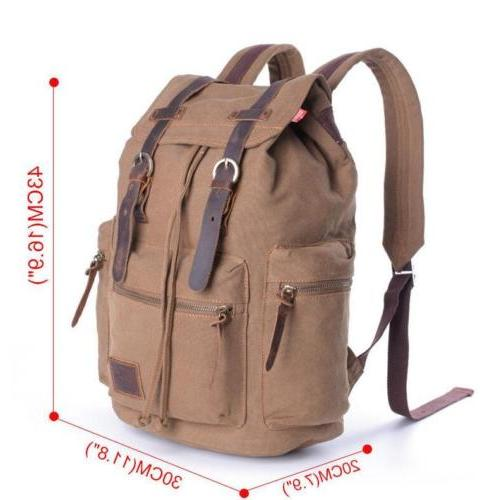 Retro Canvas School Bag Laptop Backpack
