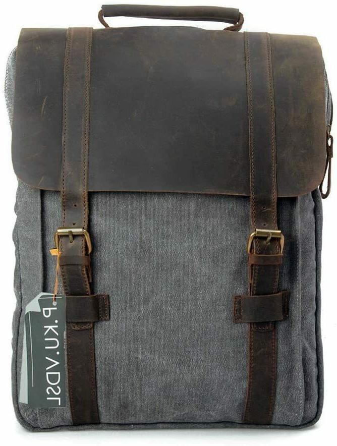 Mens Vintage Canvas Leather Laptop Backpack School Travel Sa