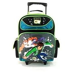 Large Rolling Backpack - Ben 10 - Cartoon New School Book Ba