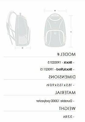 Swiss SA1908 Black TSA Friendly Backpack Fits 17Inch