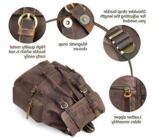 "Shoulder Satchel Canvas Leather 15"" Travel Camping"