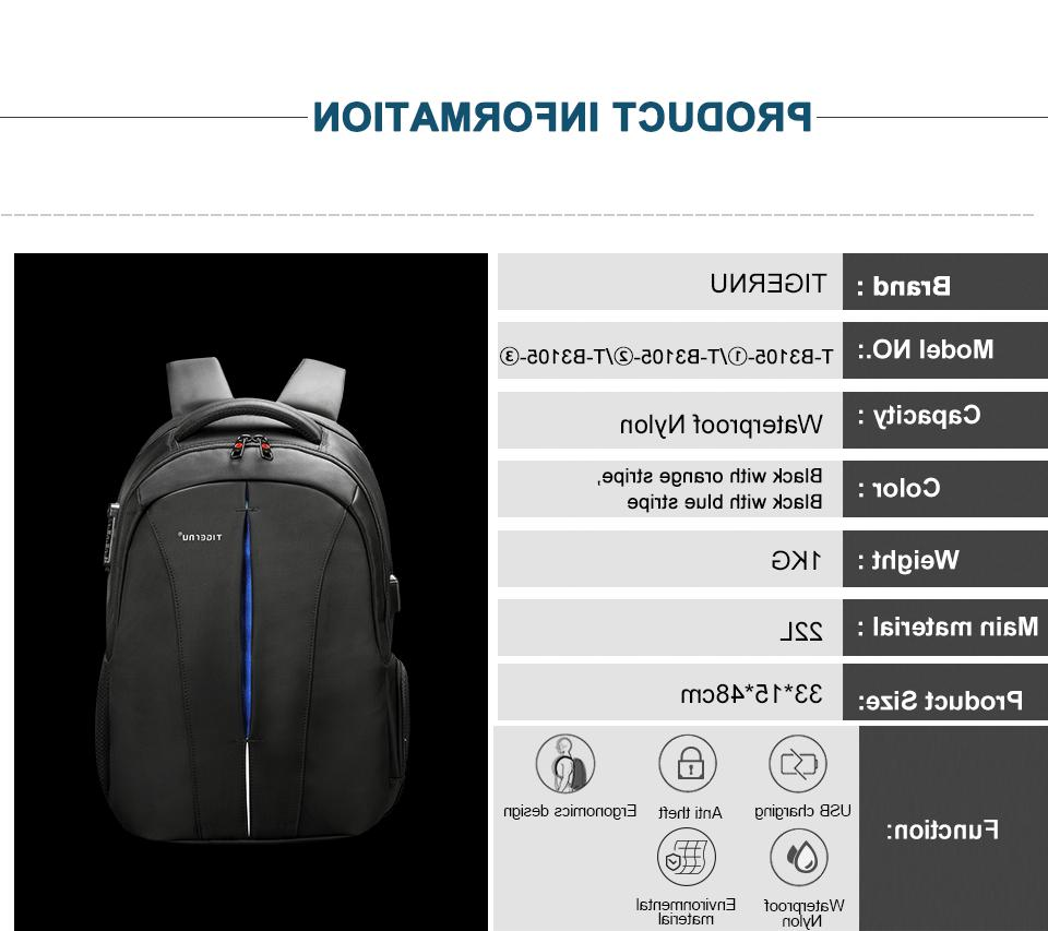 Tigernu Splashproof 15.6inch Backpack Anti Men