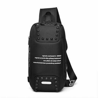 Stylish Men Anti-theft Lock Backpack Laptop Waterproof Charging