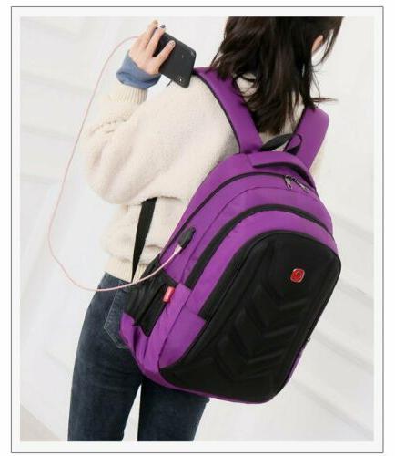 "Swiss 15.6"" Backpack EVA Protect shell Charge Port School Bag"