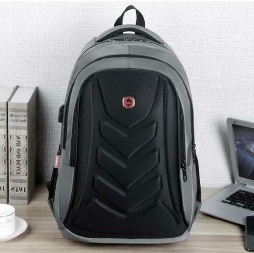 "Swiss 15.6"" Laptop Backpack EVA Protect shell USB Bag"