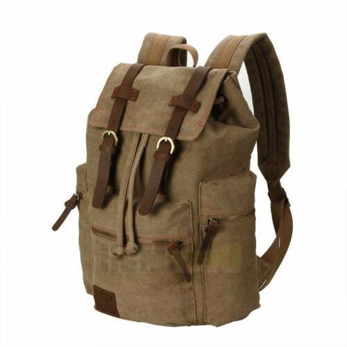 Travel Canvas Rucksack Camping Satchel Laptop Hiking Bag