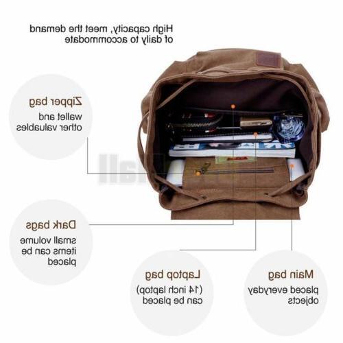 Travel Canvas Rucksack Camping School Satchel Hiking Backpack