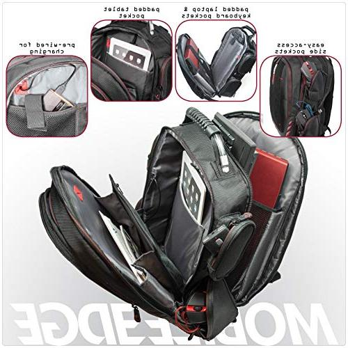 Mobile Edge Gaming Backpack with Front Black Red