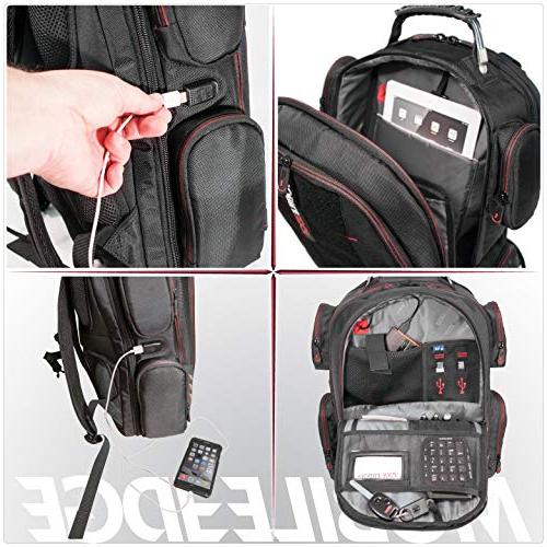 """Mobile Gaming Backpack Front Panel 17""""-18"""" - Black Red"""