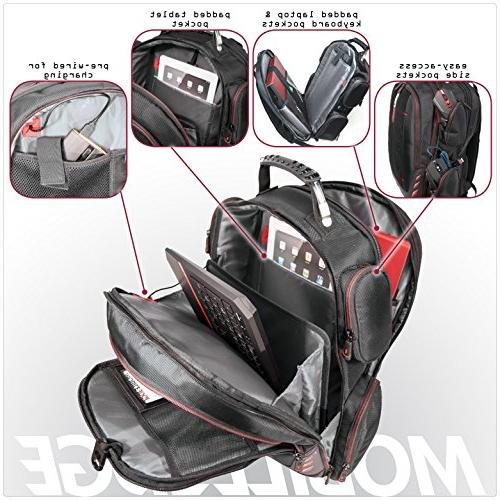 Mobile Edge Gaming Backpack Velcro Front - Black with Red Trim