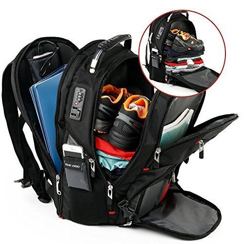 Cross Gear TSA Backpack with Port Lock Waterproof - 17.3 Tablets CR-8112BKXL