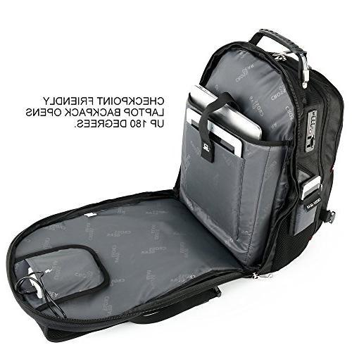 Cross TSA Laptop Backpack Port Waterproof 17.3 Inch Laptops and Tablets CR-8112BKXL