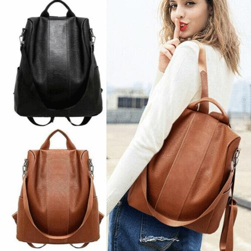fashion women leather backpack preppy school bag