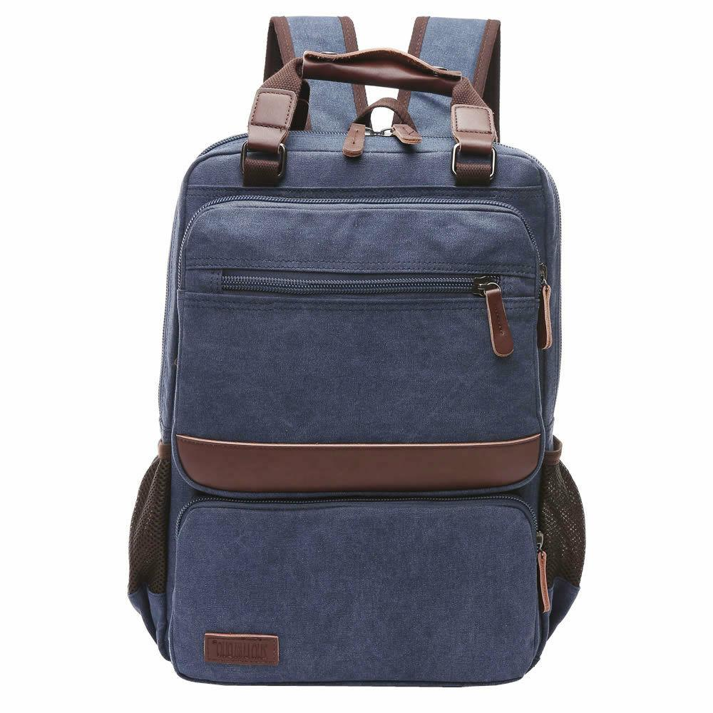 vintage canvas school book bag with laptop