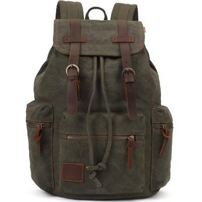 KAUKKO Vintage Casual Canvas and Leather Rucksack Backpack,