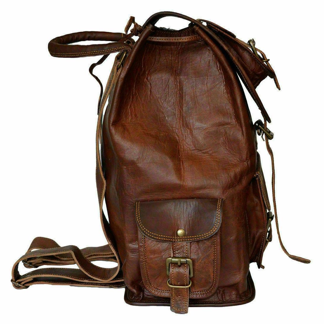 Vintage Leather Laptop Backpack Rucksack Bag Satchel