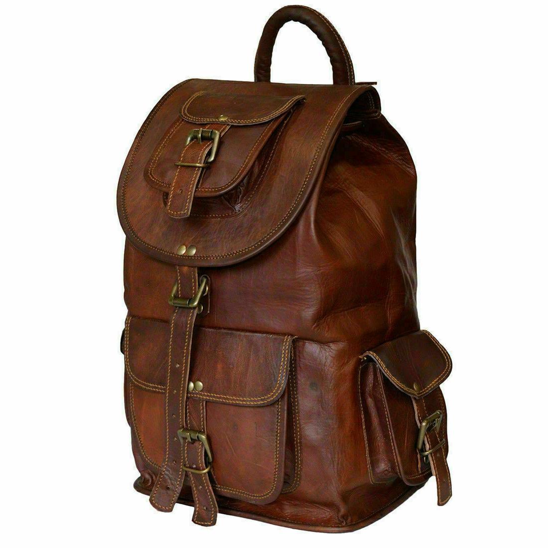 vintage genuine leather laptop backpack rucksack messenger
