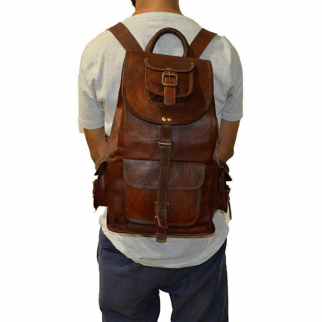 Vintage Genuine Leather Backpack Messenger Satchel
