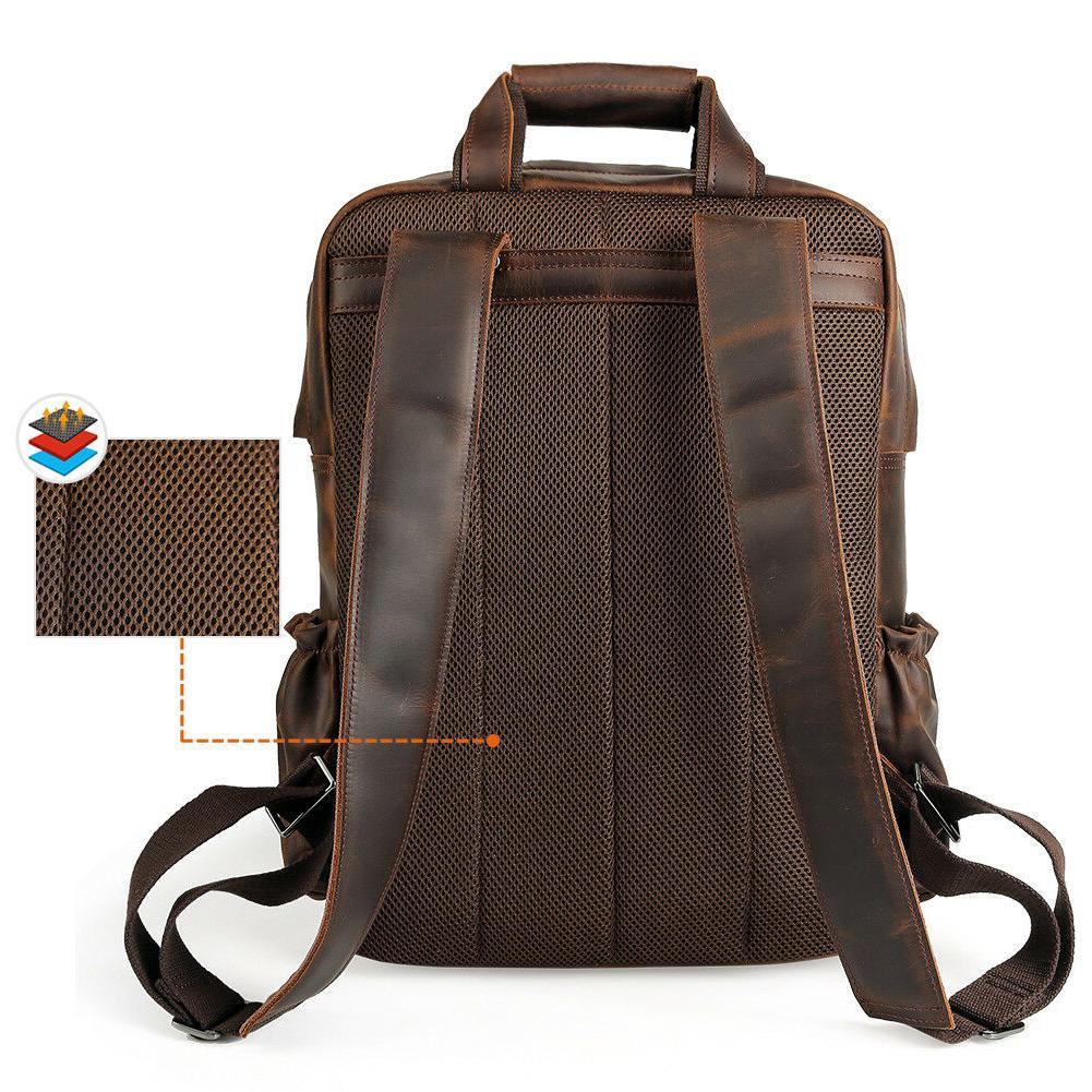 "Vintage Leather 17"" Bag Hiking Camping On"